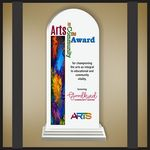 Custom Arch White Budget Line Acrylic Award in a White Wood Base with Color Printing