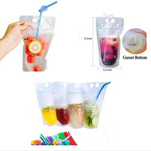 Custom 16 Oz. Transparent Hand-held closable Zipper Drinking Pouches Bags with Straw