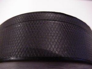 Close up of side of puck