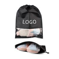 Non Woven Drawstring Shoe Bag With Clear Window Non Woven Drawstring Shoe Bag With Clear Window