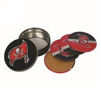 Custom Round Shape Tinplate Cork Cup Mat 4 Pieces Set