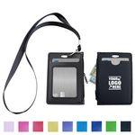 Custom Lanyard PU Leather Card Holder With Zippered Pocket