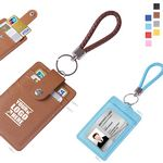 Custom PU Leather 3 Pockets Card Holder With Key Ring