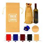 Custom Velvet Drawstring Wine Bottle Bag