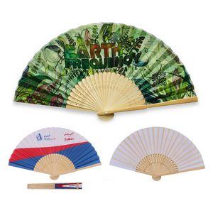 Custom Imprinted Bamboo Handle Fans