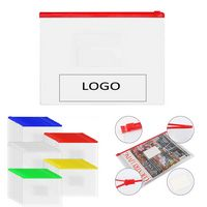 A4 Clear Plastic Zip Envelope Folder W/ Card Pocket