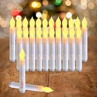 LED Taper Candles with Warm Yellow Flickering Flame Light Battery Operated Floating Candles