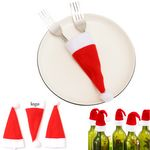 Woolen Cloth Christmas Hat Knife And Fork Storage Case
