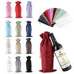 Custom Linen drawstring Wine Bag