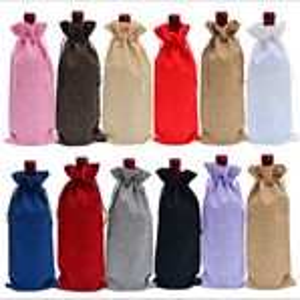 Custom Multicolor Linen Wine Bottle Bag