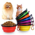 Custom Portable Travel Collapsible Pet Bowls with Carabiner