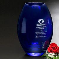 """Cobalt Barrel Vase 8-1/2"""""""