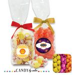 Custom French Bottom Stand Up Bags w/ Bows Filled w/ Sixlets