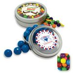 Custom Rim Tin w/ Window Assorted Gumballs Candy by Color