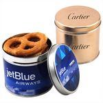 Custom Round Tin w/Pretzels
