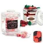 Custom Beveled Reusable Acrylic Jar Filled w/ Gummy Raspberries and Blackberries