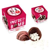 Valentines Day Hot Chocolate Bomb with Pink Drizzle in Gift Box
