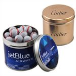 Custom Round Tin w/Chocolate Baseballs