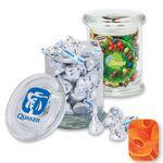 Custom Air Tight Gourmet Glass Jar Filled w/ Gummy Peach Rings