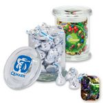 Custom Air Tight Gourmet Glass Jar Filled w/ Fruit Filled Wrapped Candy