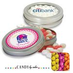 Custom Medium Circular Tin w/ Window Sixlets Candy by Color