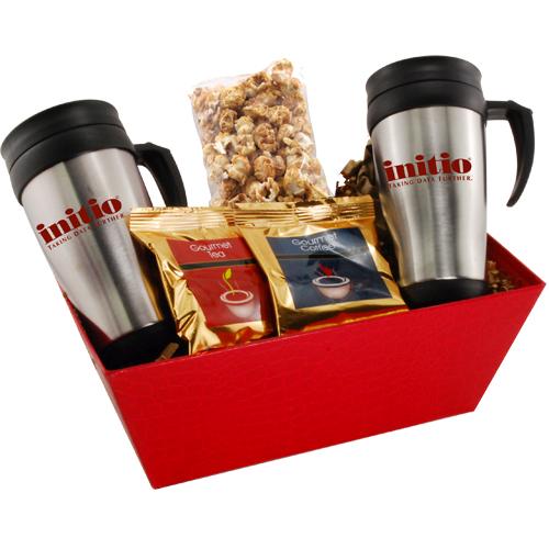 Tray w/Mugs and Caramel Popcorn