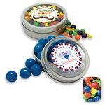 Custom Rim Tin w/ Window Assorted M&Ms Candy by Color