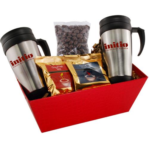Tray w/Mugs and Chocolate Covered Raisins