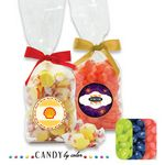 Custom French Bottom Stand Up Bags w/ Bows Filled w/ Jelly Belly
