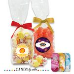 Custom French Bottom Stand Up Bags w/ Bows Filled w/ Taffy