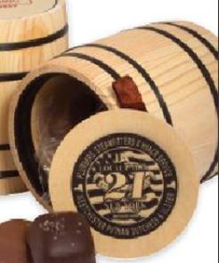 Twist Wrapped Truffels in Wood Barrels
