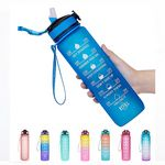 Custom 32oz Fitness Sports Water Bottle with Time Marker & Straw