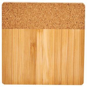 Custom Bamboo and Cork Coaster Four Piece Set