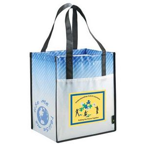 Big Grocery Striped Laminated Non-Woven Tote
