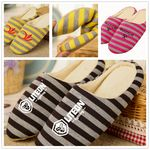 Warm Two-color Striped Silent Indoor Cotton Slipper