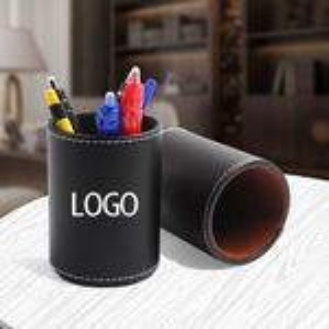Custom Round Shape Leather Pen Cup Set
