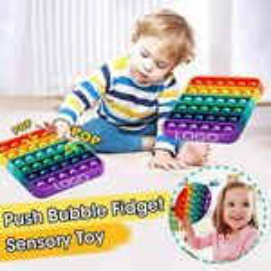 Custom Rainbow Square Push Pop Bubble Fidget Toy