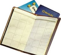 "Vinyl Monthly Pocket Planner (6-1/2"" x 3-7/8"" Closed)"