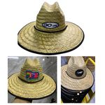 Natural Straw Lifeguard Hat With Sliding Cord Lock & Custom Patch