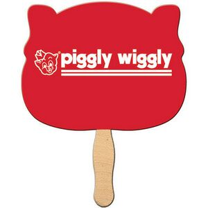 Custom Printed Pig Animal Head Stock Shaped Paper Fans