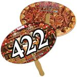 Oval Auction Hand Fan Full Color