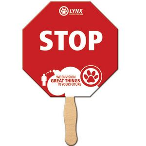 Custom Printed Stop Sign Stock Shaped Paper Fans