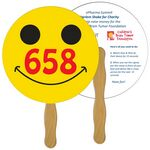 Custom Smiley Face Auction Hand Fan Full Color