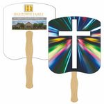 Modern Cross Hand Fan Full Color (2 Sides)
