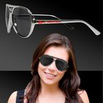 Custom Metallic Silver Plastic Aviator Sunglasses