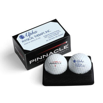 Pinnacle Soft (For Feel) White Golf Ball - 2-Ball Business Card Box