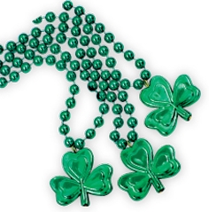7 mm Bead Necklaces w/ Shamrock Medallions