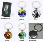 Custom Keychain with colorful swirl design in Glass bubble. (Engraved)
