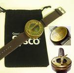 Custom Antique Brass Wrist Sundial W/Velvet Pouch