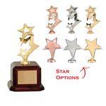 Custom Metal Star Figure Award in Rosewood Piano Finish Base (Choice of star)